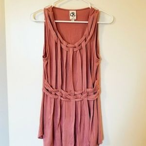 Anthropologie rose pink woven Greek tank blouse S